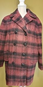 COACH plaid long peacoat